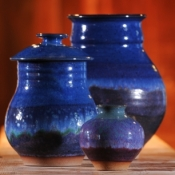 Lidded Jar and Two Vases